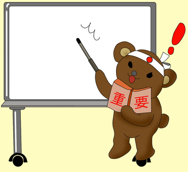 Bear standing in front of white board