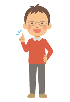 Man in glasses pointing pose