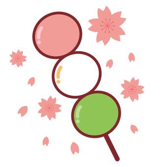 Three-color dumplings cherry background
