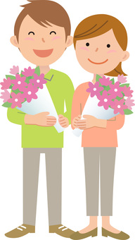 70214. Couple, bouquet, whole body