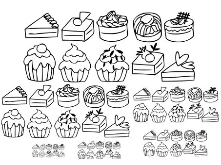 Various cakes (line drawing)