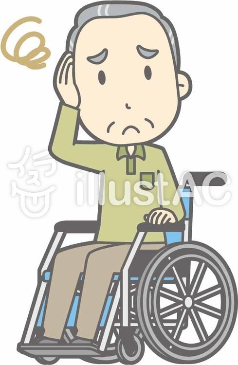 老人男性d-車椅子困った-全身のイラスト