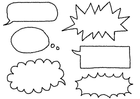 Various speech bubbles of hand-drawn style