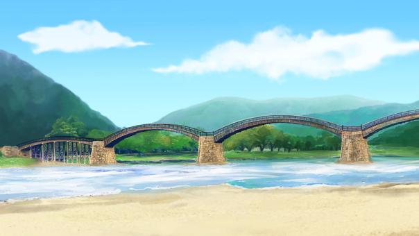 和風背景 ワイド 橋 昼