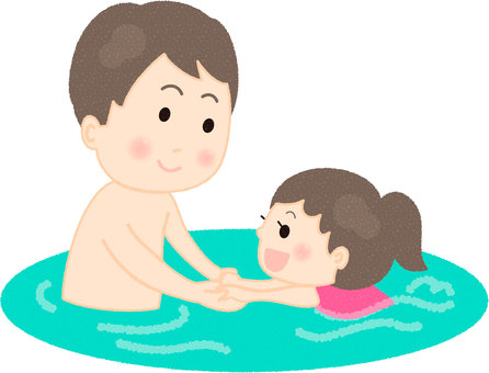 Parent and child swimming in the pool