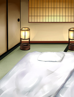 Japanese Style Background Futon with lantern