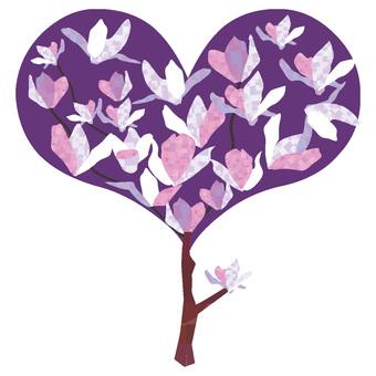 White magnolia heart tree