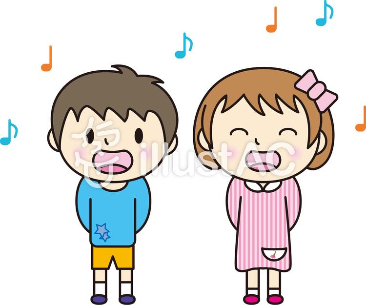 歌う子供のイラスト