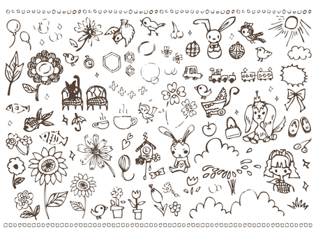 Handwritten girly cute illustration material bird
