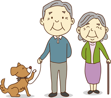 Two elderly couple and dogs