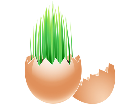 ai Eco illustration Grass growing from egg shell