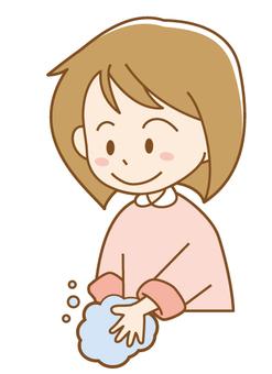 Girls washing hands
