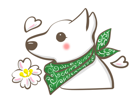 White dog and plum blossoms