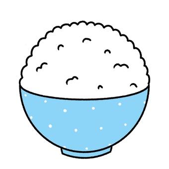 大盛りご飯を入れた茶碗・可愛い手描き