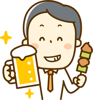 A salaryman with beer and yakitori