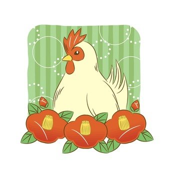 Rooster and camellia