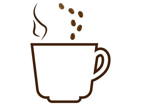 커피 컵에 떨어지는 콩