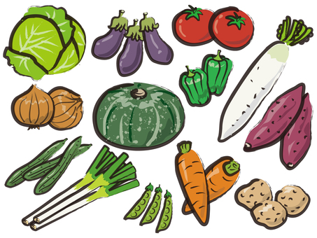 Vegetable assortment writing brush style