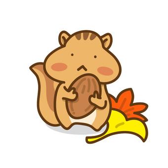 열매와 다람쥐 씨의 일러스트