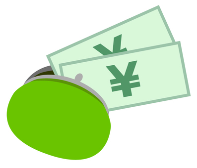 Pamper wallet and money (green