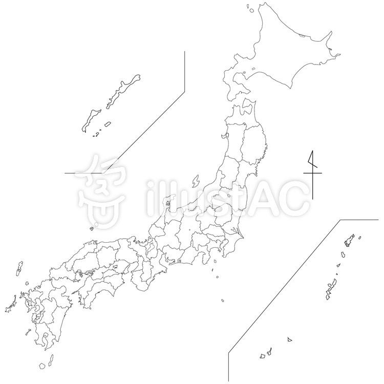 白地図日本全国【都道府県パーツ分け可能】