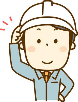 헬멧을 착용하는 작업복 남성