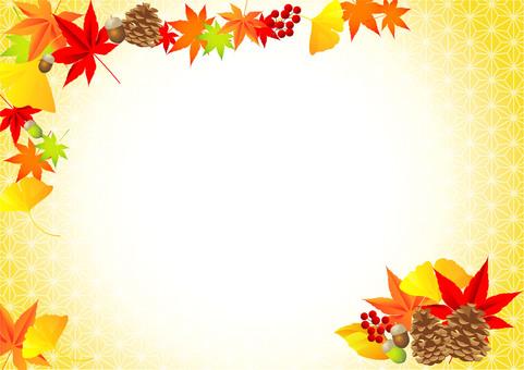秋の紅葉植物フレーム03