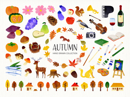 Autumn hand drawn watercolor illustration set