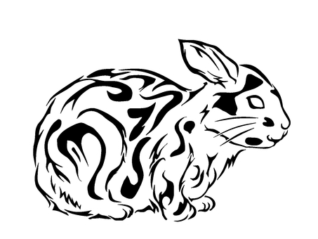 單色藝術兔