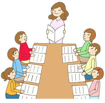 Group learning female teacher