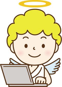 使用電腦的天使