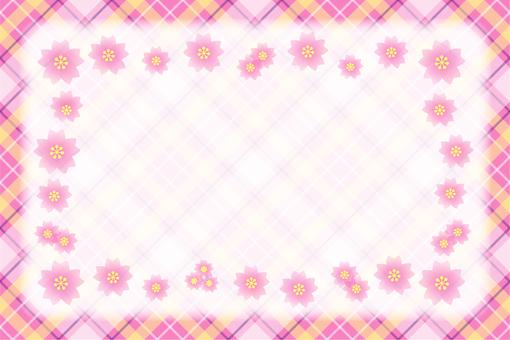 Cherry Blossoms and Check Frame - Frame Blur
