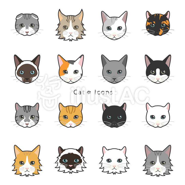 猫 顔 アイコンイラスト No 1425127 無料イラストなら イラストac