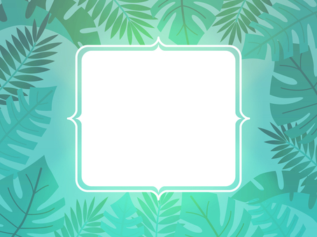 Monstera decorative frame tropical Hawaii green