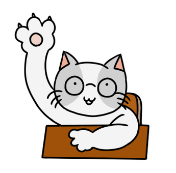 Cat raising hands