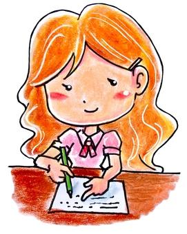 글을하고있는 여자