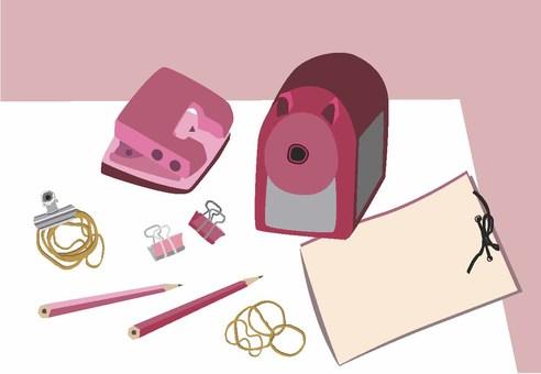 Pink stationery desk