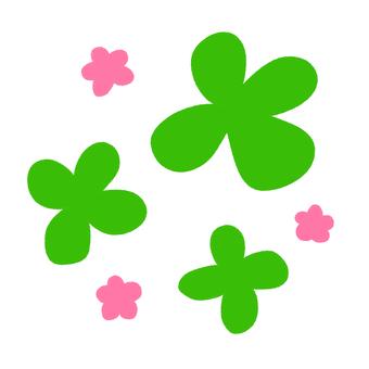 一套四片葉子和小花(粉紅色)