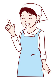 Apron and women in sling-width - upper body - smile