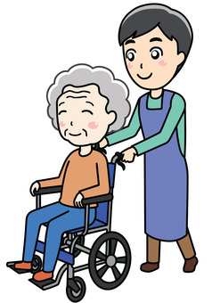 Wheelchair man and helper woman