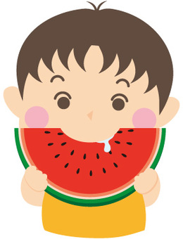 Boys eat watermelon