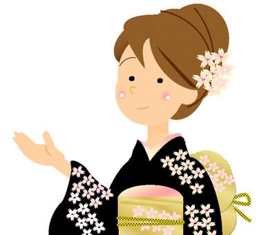 Kimono woman ③ Black