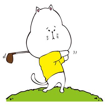 ゴルフする猫