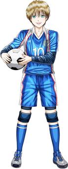 A boy with a soccer jersey ball