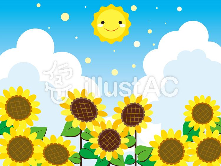 【フリーイラスト素材】太陽とひまわり