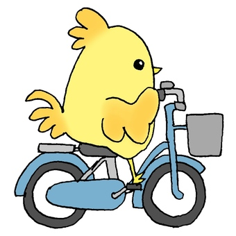 A bird on a bicycle
