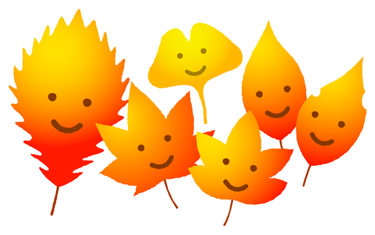 Autumn leaves smiling leaves