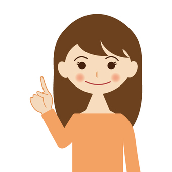 A woman pointing at a smile