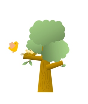 Bird and parent and tree