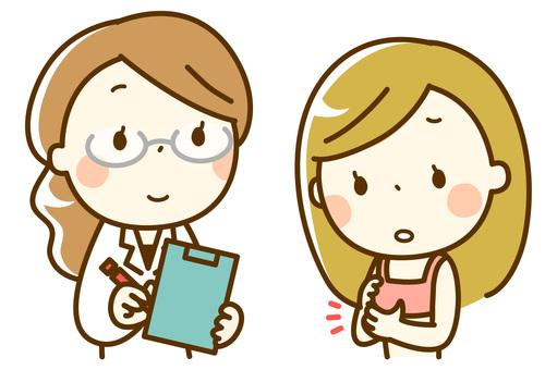 乳がん検診_胸のしこりを相談する女性